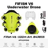 FIFISH Drone sous-Marin Caméra Photo V6 QYSEA Grand Angle 162˚ 6 Directions de Mouvement 4K UHD 12 MP Câble 100 m Profondeur Bobine 64GB Enregistrement Photo vidéo pêche Monde sous-Marin 843833