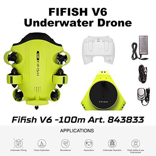 Fifish Drohne U-Boot Underwasser Kamera V6 QYSEA Weitwinkel 162˚ 6 Bewegungsrichtungen 4K UHD 12 Mp Kable 100 m Tiefe Spule 64GB Video Fotoaufnahme Angeln Unterwasserwelt 843833