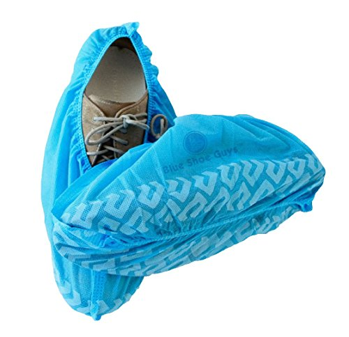 Blue Shoe Guys | 100 Premium Disposable Shoe and Boot Covers | Durable Non-Slip, Water Resistant, Recyclable | One Size Fits Most (Love it or it's 100% free guaranteed)