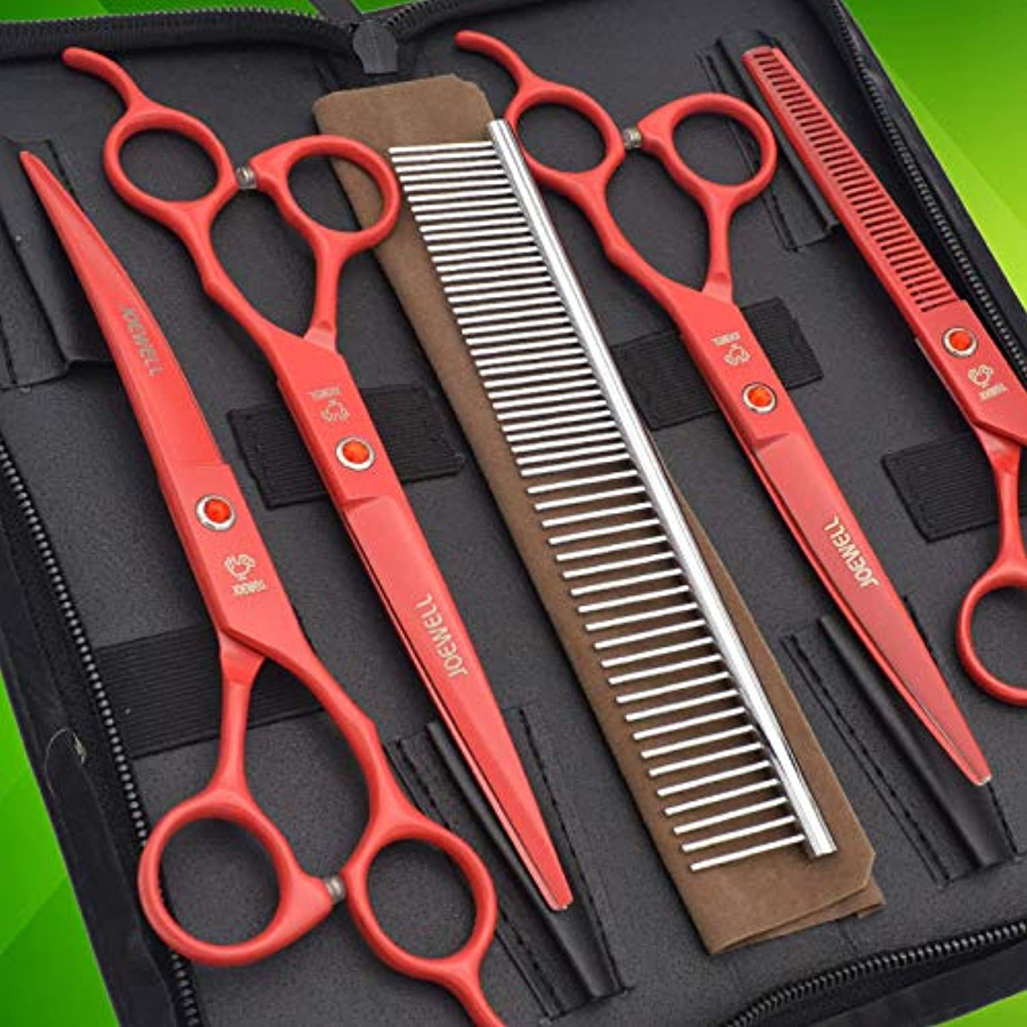 5 pcs Pet Scissors Set, 7 inches Pet Stainless Steel Curved Thinning Shears Grooming Scissors Sets with Grooming Comb and Scissor Bag