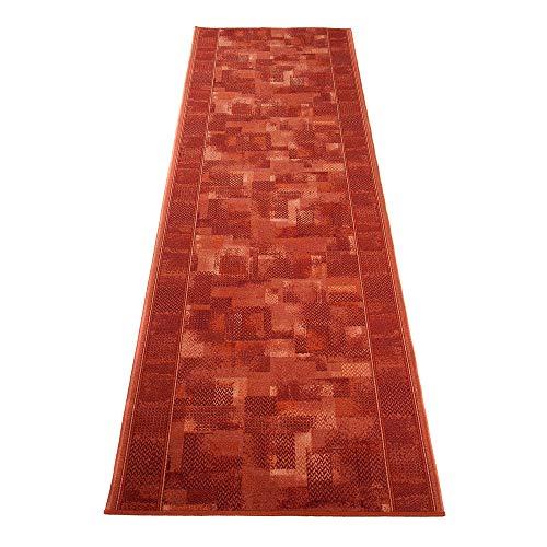 TAPISO Antidérapant Tapis de Couloir Cuisine Entrée Design Moderne Rouge Moucheté Poil Court Fin sur Mesure 80 x 450 cm