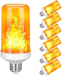 LED Flame Effect Light Bulb, Upgraded 4 Modes with Upside Down Flickering Halloween Light Decoration, E26 Base Flame Bulbs, Realistic Fire Lamp for Holiday Bar Christmas Party Decoration, 6 Pack
