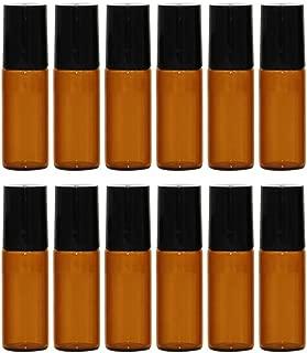 ロールオンボトル 遮光瓶 ガラスロールタイプ 茶色 5ml 精油 香水 小分け用 アロマボトル 保存容器 12本セット