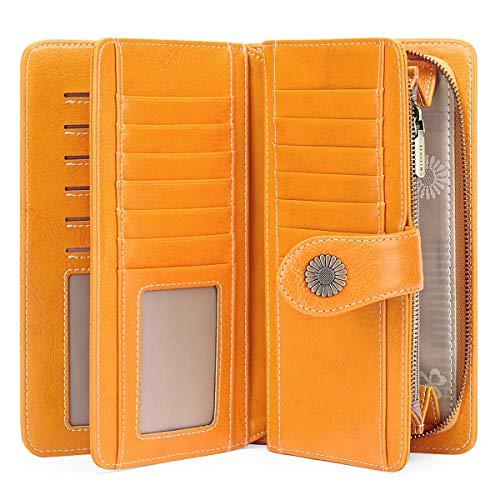 FALAN MULE - Cartera de piel elegante para mujer con bloqueo RFID, 24 ranuras para tarjetas, cartera de mano de gran capacidad - Amarillo - talla única