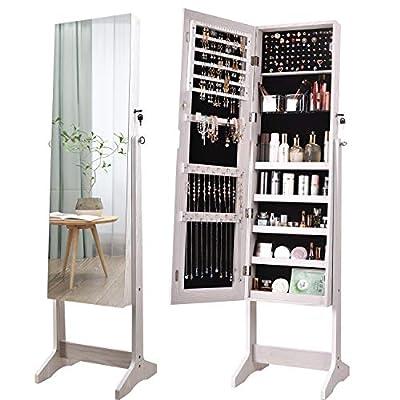 YOKUKINA Jewelry Cabinet Armoire, Large Storage Lockable Organizer with Frameless Free Standing Dressing Mirror (White)