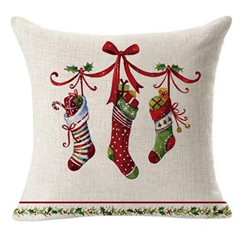 Huazi2 Christmas Santa Claus Print Pillow Case, Cotton Linen Sofa Car Throw Cushion Cover Indoor Home Decor
