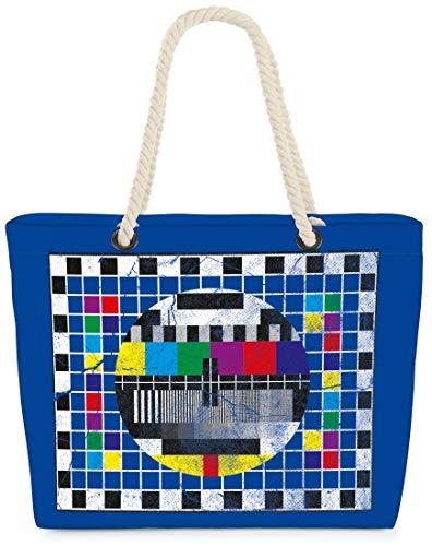 VOID Bolso de Playa XXL Bolsa Shopper Televisión 58 x 38 x 16cm 23l Beach Bag, Kissen Farbe:Azul