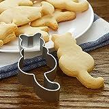 Dontdo Stampo per torta a forma di gatto, in acciaio inox, per biscotti, biscotti, biscotti, 8 cm x 3,8 cm (argento)