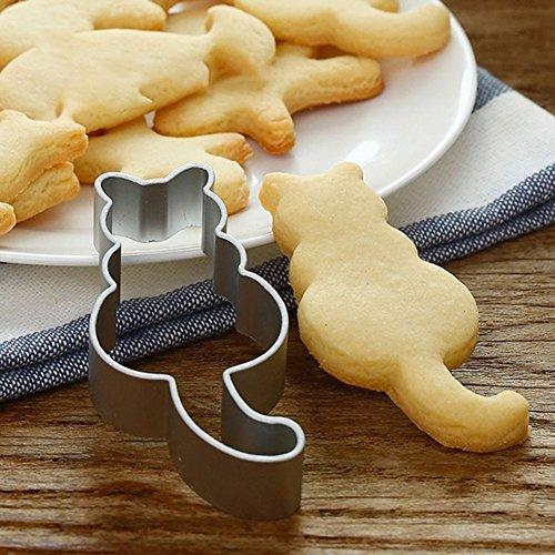 Dontdo carino a forma di gatto stampo per dolci, biscotti al cioccolato taglierino stampo da forno in acciaio INOX per party, Acciaio INOX, Silver, 8cm x 3.8cm