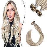 Ugeat 35cm Highlight Pince Extension Cheveux a Chaud Flat Tip 1G 50S Individuel Meche Keratine Cheveux Fantaisie Blond Cendre Mixte Bleach Blond #P18/613