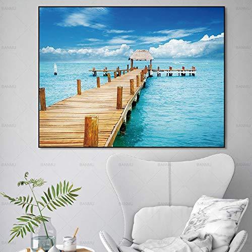 Parijs Eiffeltoren Romantische Stad Liefhebbers Landschap HD Print Abstract Olieverfschilderij in Canvas Wall Art Woonkamer Slaapbank Home Decor (Geen Frame) 40x50CM A5