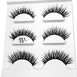 Sameno 3 Pairs 3D Natural Magnetic Fake Eyelashes Reusable Fake Lashes Extension Eyelashes Long Soft False Lashes Makeup Easy to Wear (F)
