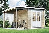 Alpholz Gartenhaus Maria mit Schleppdach aus Holz Gerätehaus mit 28 mm Wandstärke und Imprägnierung