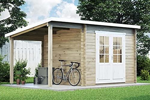 CARLSSON Gartenhaus Maria mit Schleppdach aus Massiv-Holz   Gerätehaus mit 28 mm Wandstärke   Garten Holzhaus inklusive Montagematerial   Geräteschuppen Größe: 450 x 250 cm   Pultdach