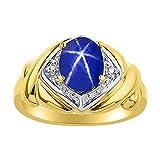 Juego de anillos de zafiro de estrella azul y diamante en oro amarillo de 14 quilates – XO Hugs & Kisses – Anillo de piedra de nacimiento de color
