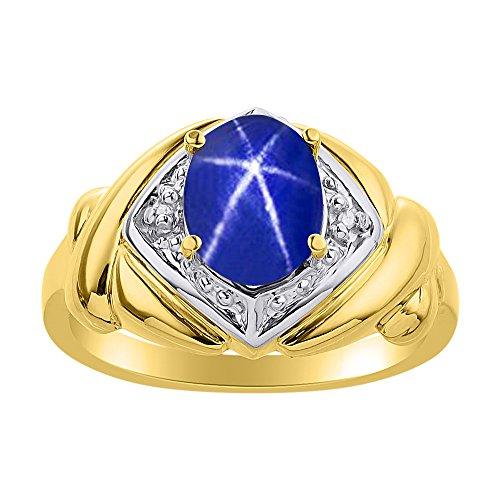 Juego de anillos de zafiro de estrella azul y diamante en plata chapada en oro amarillo – XO Hugs & Kisses – Anillo de piedra de nacimiento de color