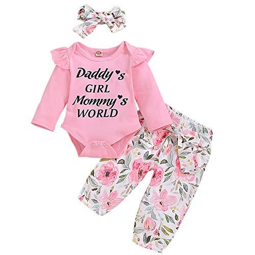 IBTOM CASTLE Neugeborene Baby Jungen Mädchen Herbst Winter Kleidung Outfit Baumwolle Langarm Strampler + Blumenhose + Stirnband 3tlg Nachtwäsche Pyjamas Casual Babyset Rosa+Blumig 0-3 Monate