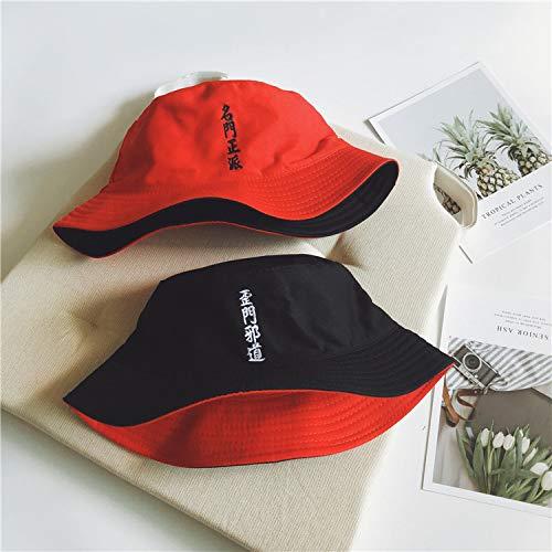mlpnko Estudiante Harajuku Hip Hop Sombrero de Cuenca de Doble Cara Bordado Salvaje Plano Pescador Sombrero Creativo Pareja Sombrero para el Sol Negro Rojo 56-58 código