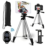 Tripod for ipad, MOCHUAN 53' Tripod for iPhone Camera Tablet, Lightweight Extendable Tripod Stand with Remote Shutter, Universal 2 in 1 Phone/Tablet Holder, for Smartphone, Tablet, Camera