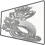 Alfombrilla de ratón (800x400x3 mm) Henna, línea Dibujada a Mano Arte floreciente Naturaleza orgánica Flor Adorno Adorno Antiguo Anti Superficie Suave y cómoda de la Alfombrilla de ratón para Juegos
