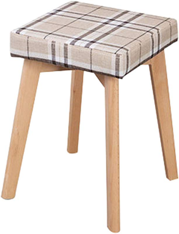 Sofa Stool Solid Wood Wooden Stool Dressing Make Up Cloth Northern Europe Adult Household Bench Removable Square Short Leg Sofa Stool Plaid
