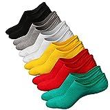 Ueither Calcetines de hombre antideslizantes de algodón de corte bajo (Tamaño:44-48, Color 7 (6 Pares))