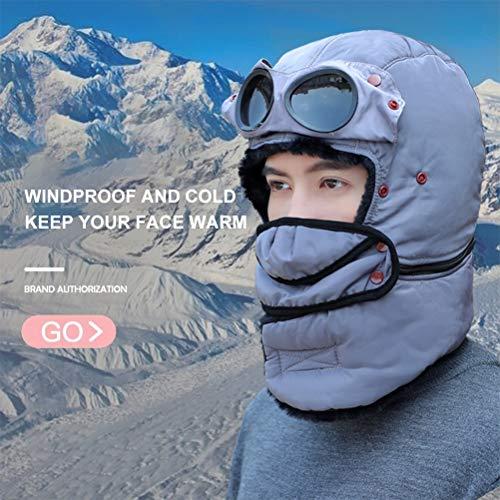Geafos防寒帽子フェイスマスクめがねフリースネックウォーマー付きパイロットキャップマスク耳あて付メンズレディース冬スノーボードスキー防寒具自転車バイク釣り登山外出仕事男女兼用子供/大人