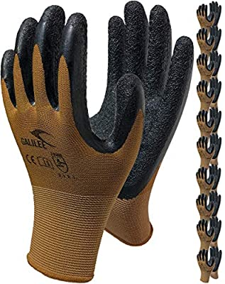 Nitrile Latex Rubber Coated Safety Work Gloves, Nylon Knit, Textured Palm Grip (10 Pair Pack)