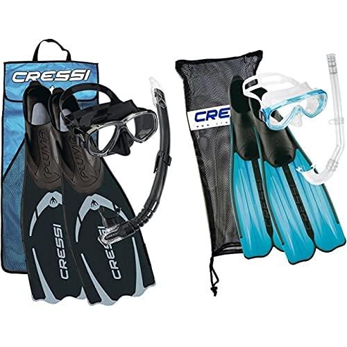 Cressi Pluma Pack De Snorkel, Unisex, Negro/Gris, 43/44 + Rondinella Bag Set - Juego De Snorkel, Color Turquesa, 37/38