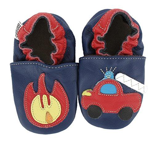 HOBEA-Germany Baby Krabbelschuhe Jungen, Schuhgröße:18/19 (6-12 Monate), Modell Schuhe:Feuerwehr mit Feuer