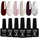 Allenbelle esmaltes permanentes para uñas nail art soak off uv led esmalte permanente de gel (lot 6 pcs 7. 3ml/pc) 002