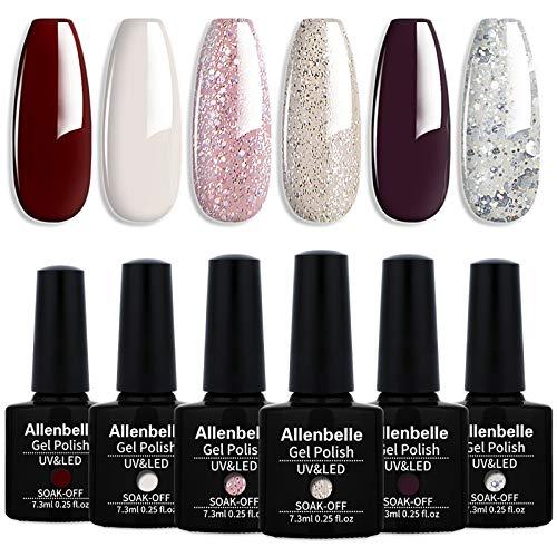 Allenbelle Vernis Semi Permanent Vernis à ongle Gel UV LED Nail Art Soak Off Manucure (7.3ml/pc Lot de 6) 002