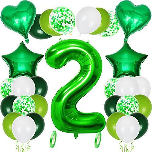 Kit de decoración de fiesta de cumpleaños grande de 40 pulgadas, globos de confeti verde hierba verde globos blancos suministros de cumpleaños helio hoja de mylar números de globo 2