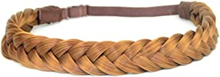 DIGUAN 2 Strands Synthetic Hair Braided Headband Classic Chunky Plaited Braids Elastic Stretch Hairpiece Women Girl Beauty accessory, 54g Boho (Strawberry Blonde)