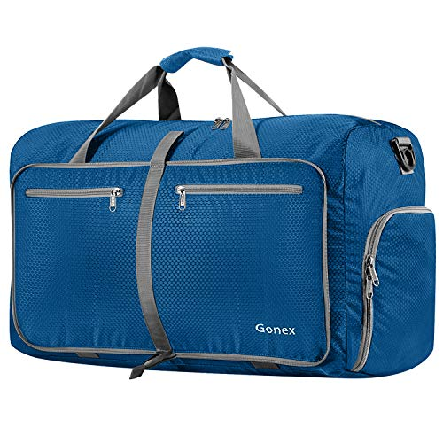 Gonex 80L Foldable Sport Duffels Travel Bag Large Sport Holdall Bag Packable Gym Bag Lightweight Waterproof Luggage (Deep Blue)