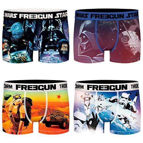 FREEGUN Star Wars Herren Boxershorts Sturmtruppler Darth Vader Imperator Krieg der Sterne Druck 4er Pack S M L XL XXL, Größe:S, Farbe:Motivmix 3