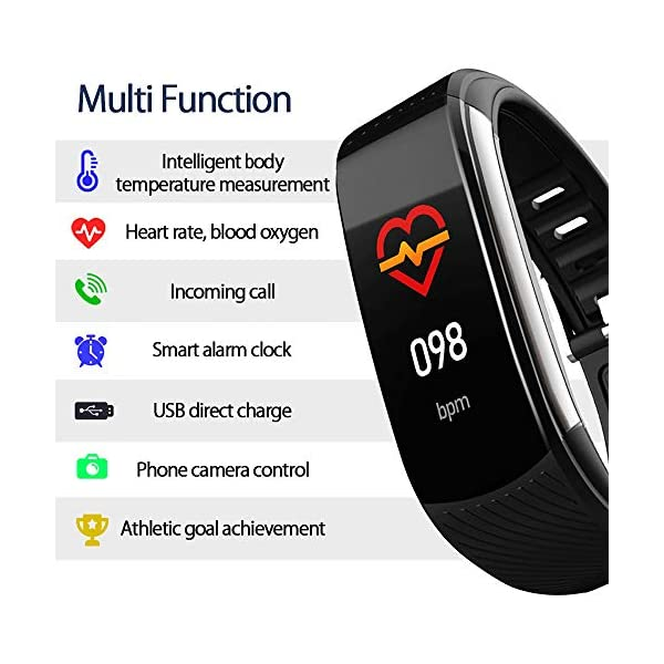 PYBBO Monitor de fitness con temperatura corporal y presión arterial, oxígeno y frecuencia cardíaca, monitor de sueño… 3