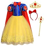 HenzWorld Girls Dresses Princess Costume Birthday Party Cosplay Bowtie Cape Red Bow Headband Tiara Wand Accessories Patchwork Colors Tutu Long Skirt Carnival Outfits 7-8 Years