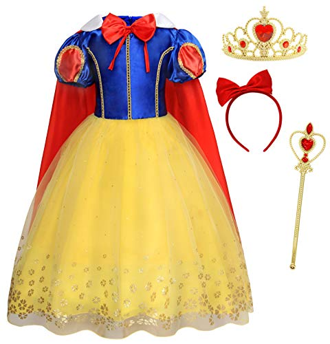 AmzBarley Disfraz Vestido Princesa Blancanieves Niña Tutu Ceremonia,Traje Niña,Disfraz Infantil Fiesta Carnaval Cosplay Halloween con Accesorios, 5-6 Años