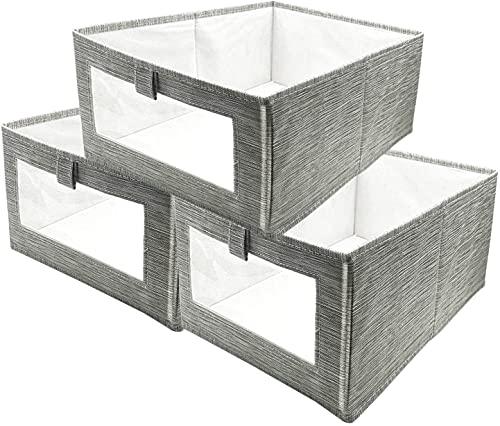 Cajas de almacenaje Plegable, Conjunto de 3 Cajas Organizadoras Tela, Cubos de Almacenamiento con Ventana Transparente, Organizadores de Contenedore para Ropa Juguetes Libros