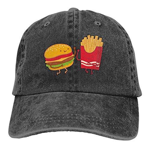 Hoswee Baseballmütze Hüte Kappe Herren Damen Baseball Cap Hut Burger und Pommes Verstellbarer Jean Trucker Hut für Herren