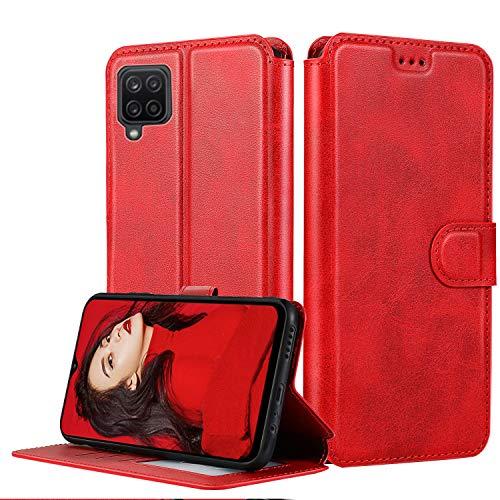LeYi Hülle für Samsung Galaxy A12 Mit HD Folie Schutzfolie,Leder Handyhülle Stoßfest Wallet Etui Magnet Schutzhülle Tasche Slim Silikon Soft Grip Cover Bumper TPU Case für Handy A12 Matt Rot