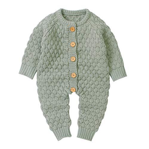 Youmymine Newborn Baby Boy Girl Sweater Knitted Romper Warm Winter Button Bodysuit Long Sleeve Jumpsuit (0-6Months, Green)