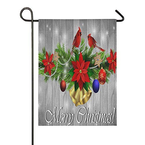 N\ A Garden Flag 12 x 18 Double Sided Winter Christmas Trees Burlap Cardinal Poinsettias Decorative House Yard Flags for Outside Outdoor Welcome Home Decor Banner Stand Size 12x18 inches