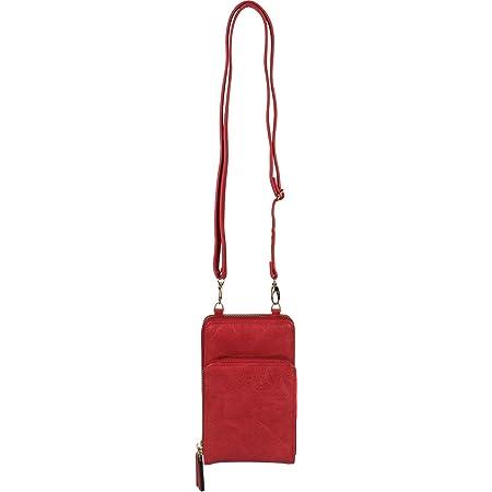 styleBREAKER Damen Mini Bag Umhängetasche mit 2 Reißverschlüssen, Handytasche, Geldbörse, Schultertasche, Handtasche 02012349, Farbe:Rot