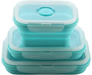 3Pcs Silicone Food Storage Container Lunch Box Containers Meal Prep Collapsible Saving Space Lightweight Microwave Freeze