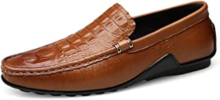 Dongxiong Simple and classic leisure drive loafers Men Round Toe Oxford embossed flat penny shoes leather slip to stitch weakening napus (Color : Brown, Size : 46 EU)