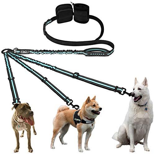 ETACCU 3-Wege reflektierende verstellbare Hände Frei Hundeleine Unterstützt 50 kg Tangle Free 3-in-1 Hundeleine mit 2 Griffen und Träger (Blau)