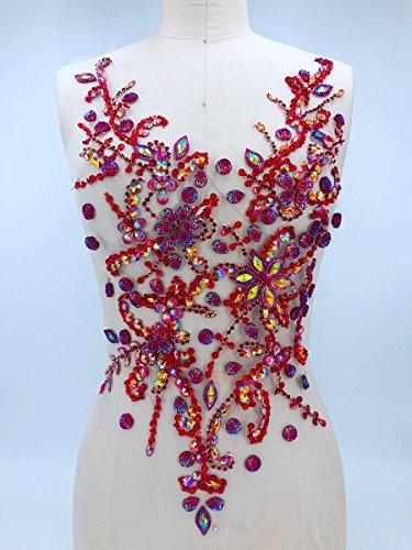 Pure hand gemaakte kristallen patches Naai op strass Applique Knit Trim 50 x 30 cm jurk Accessoire
