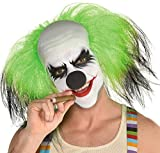 Amscan 8402064 Men's Black and Green Sinister Clown Synthetic Wig, Adult Standard 1 ct